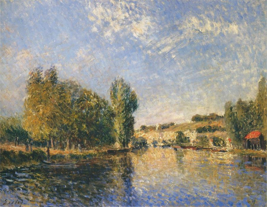 famous painting The Loing at Moret of Alfred Sisley