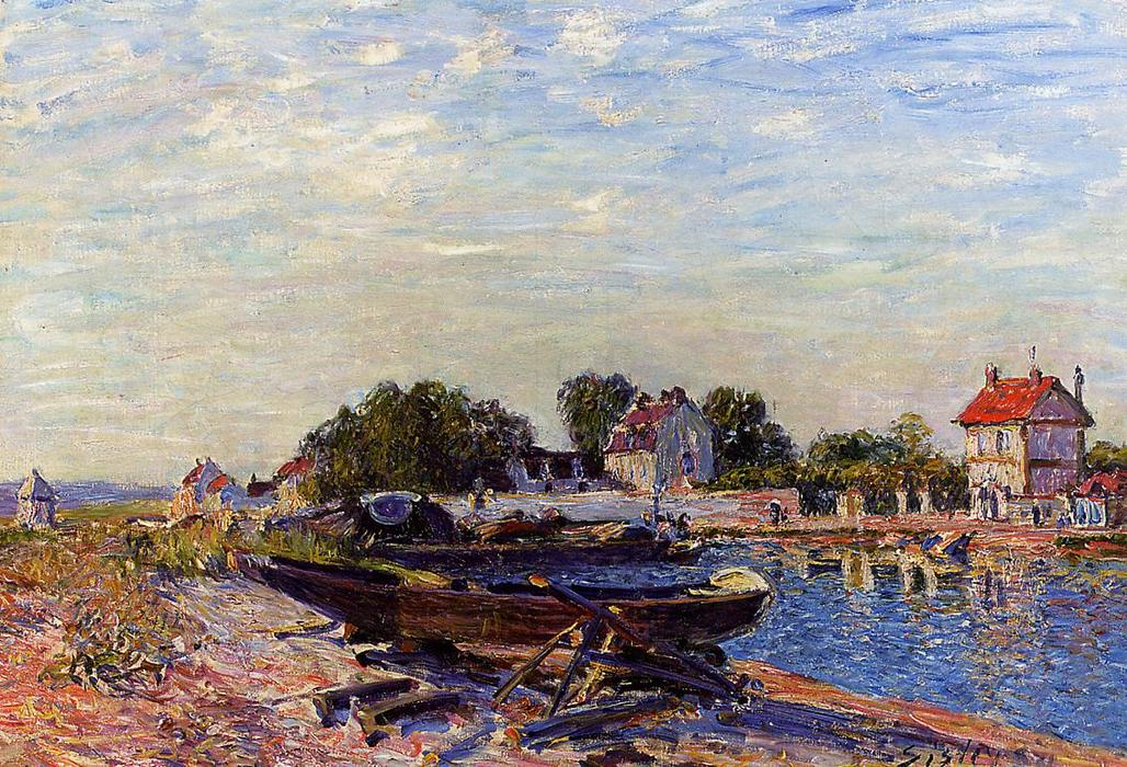 famous painting The Loing at Saint-Mammes of Alfred Sisley