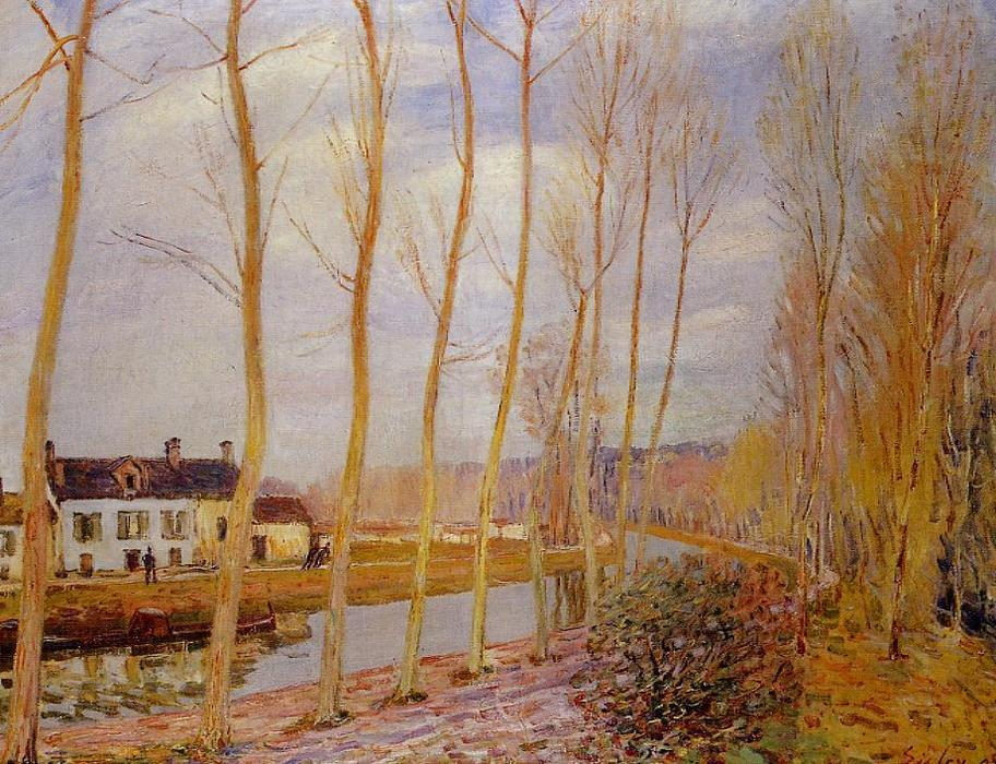 famous painting The Loing Canal at Moret of Alfred Sisley