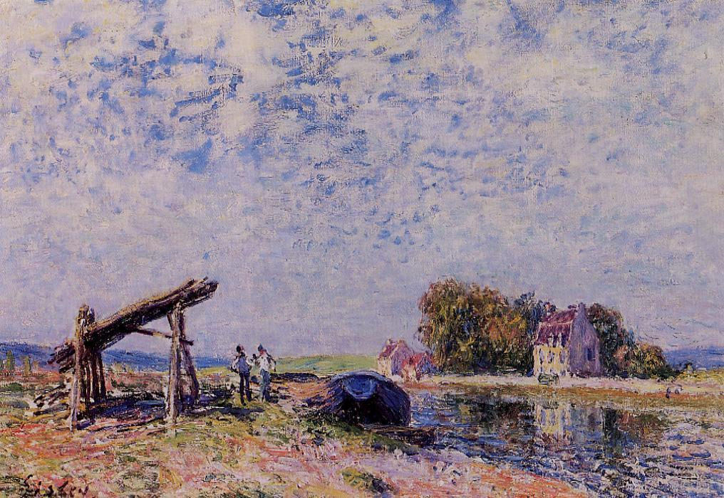 famous painting The Loing Canal at Saint Mammes of Alfred Sisley