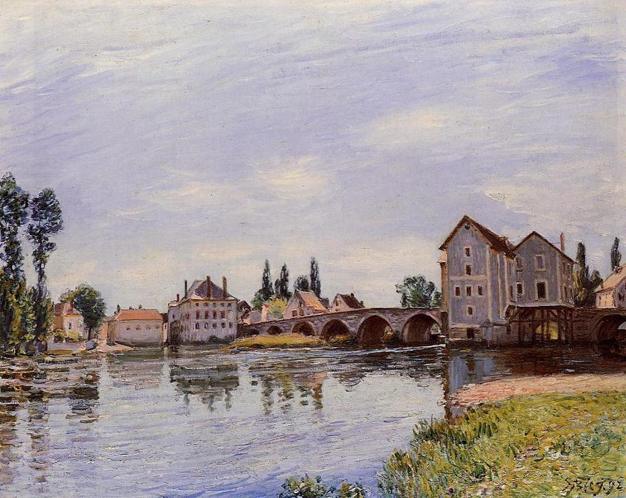 famous painting The Loing Flowing under the Moret Bridge of Alfred Sisley