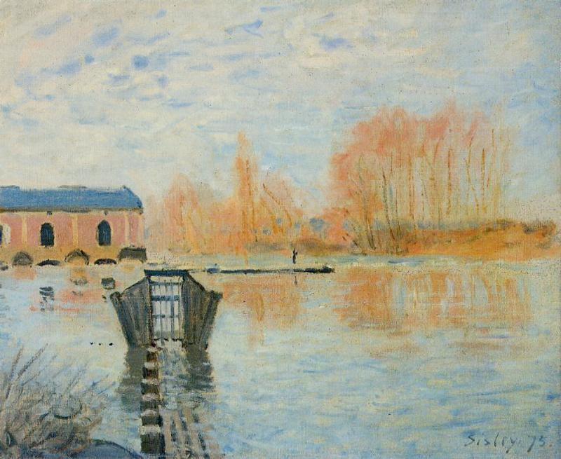 famous painting The Marly Machine and the Dam of Alfred Sisley