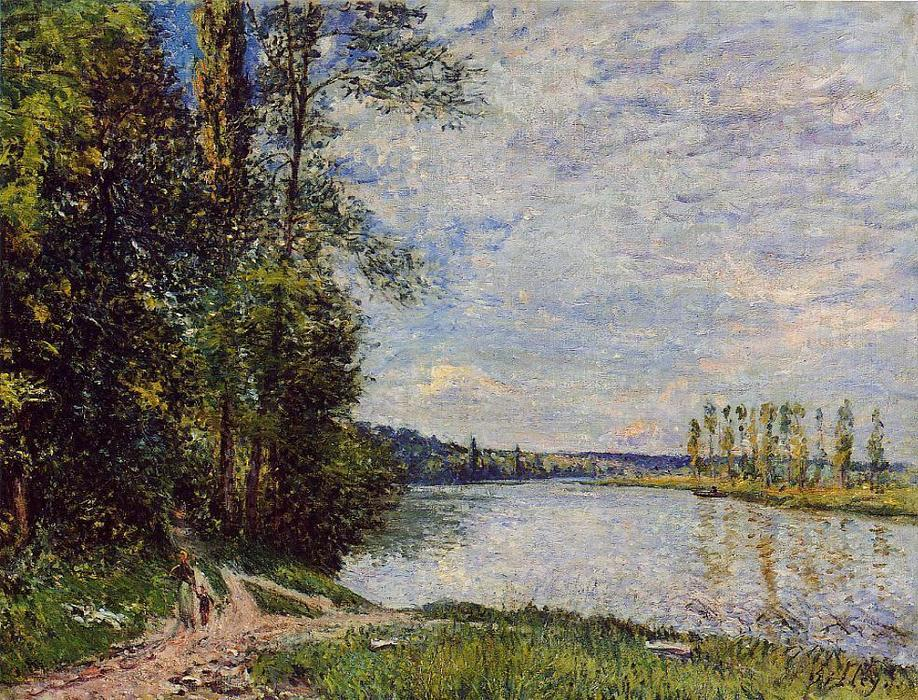 famous painting The Path from Veneux to Thomery along the Water, Evening of Alfred Sisley