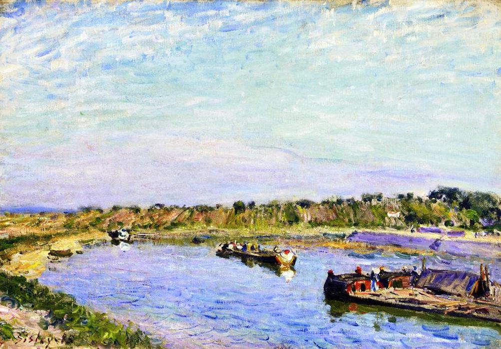 famous painting The Port of Saint Mammes, Morning of Alfred Sisley