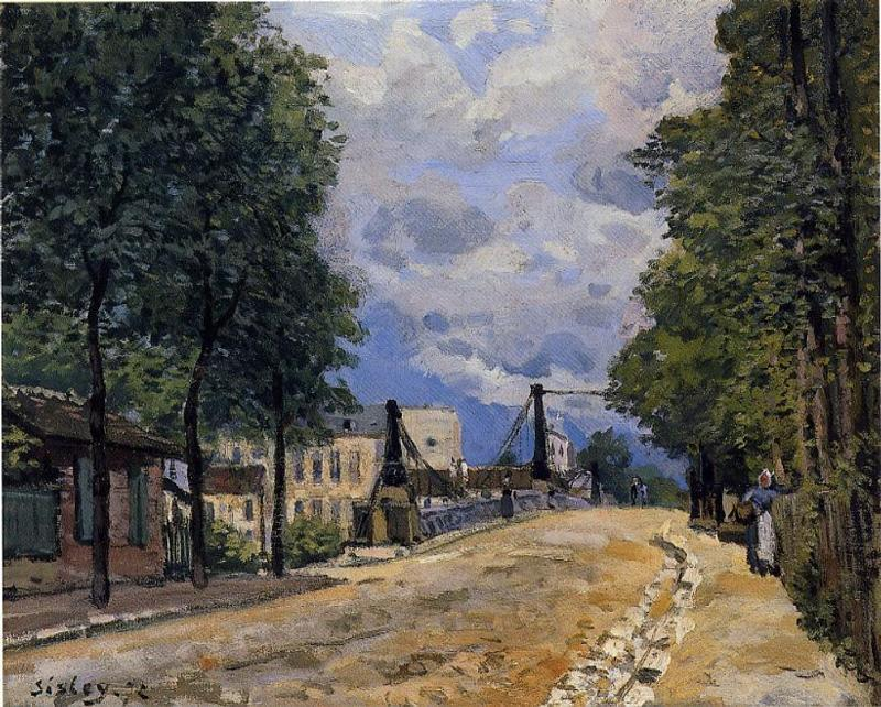 famous painting The Road from Gennevilliers of Alfred Sisley