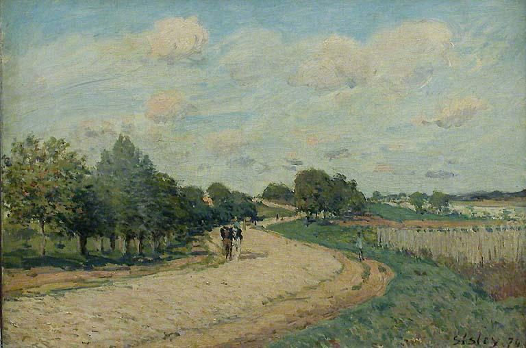 famous painting The Route to Mantes of Alfred Sisley