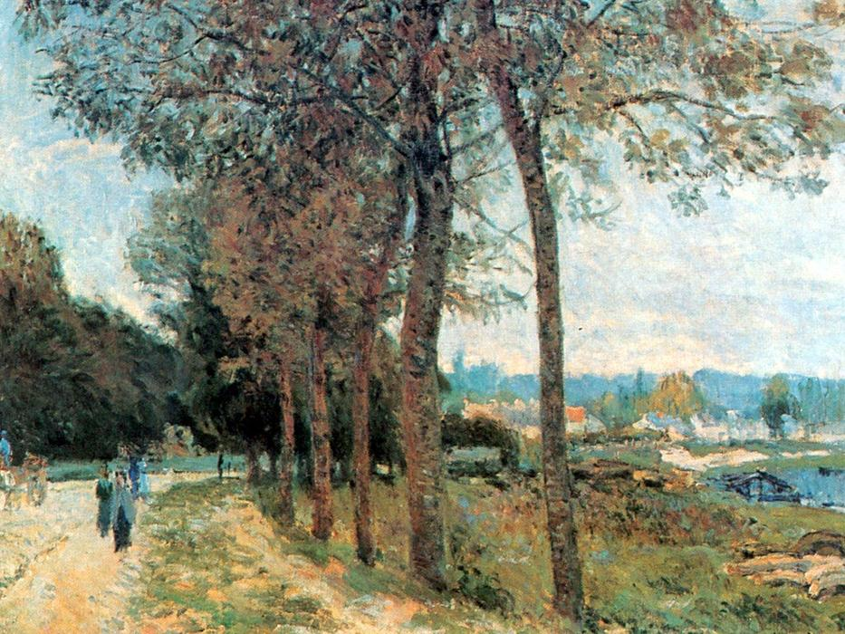 famous painting The Seine at Marly of Alfred Sisley