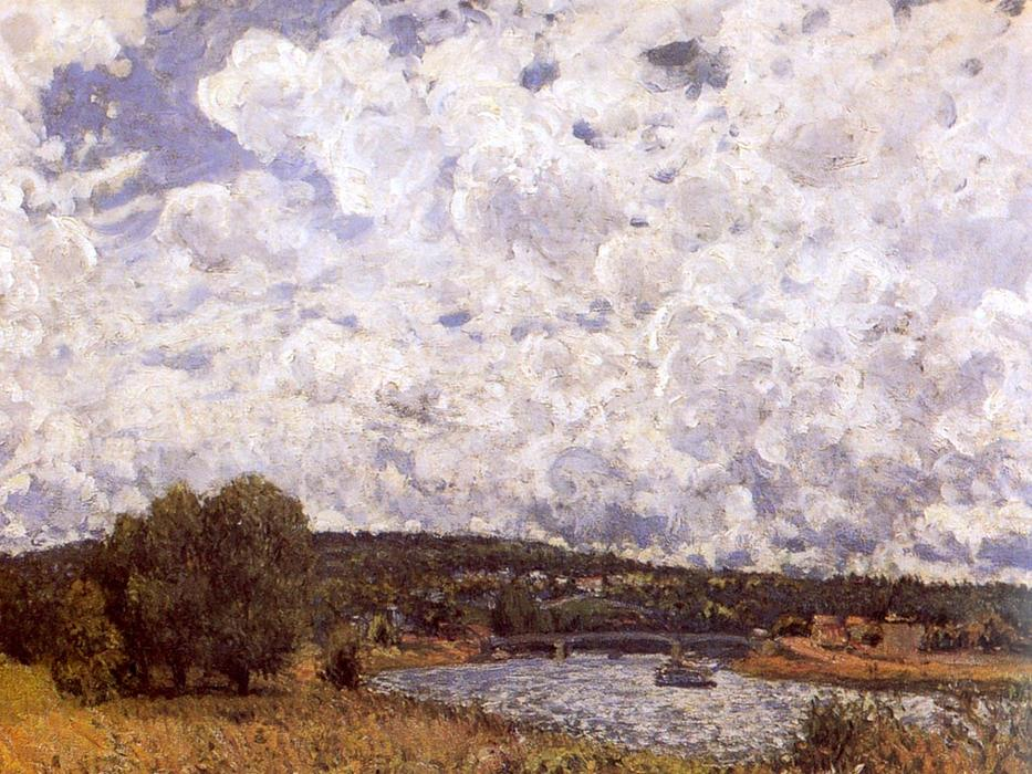 famous painting The Seine at Suresnes of Alfred Sisley