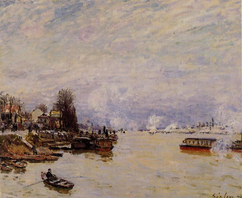 famous painting The Seine, View from the Quay de Pont du Jour of Alfred Sisley