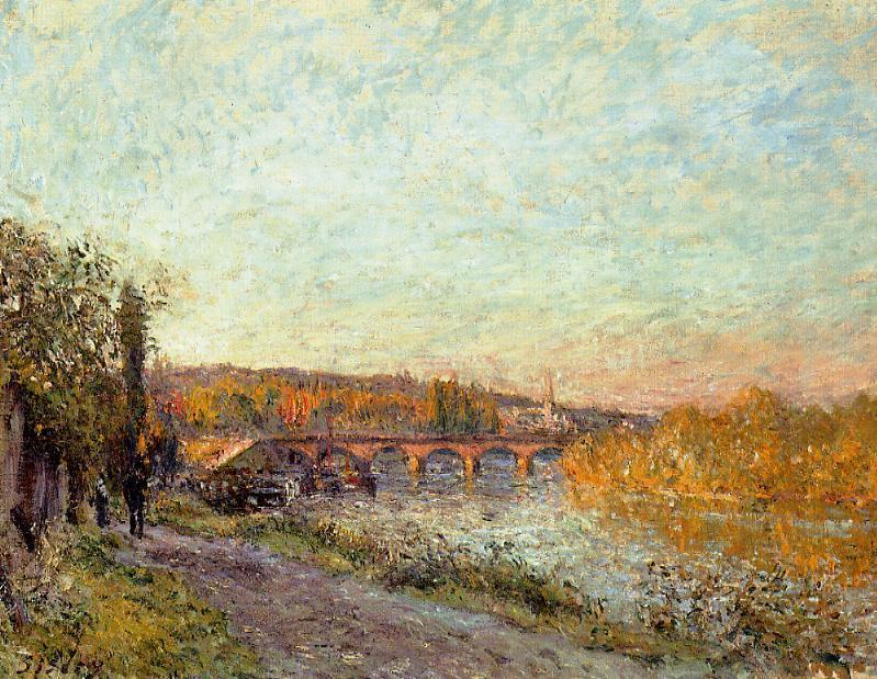 famous painting The Sevres Bridge 1 of Alfred Sisley