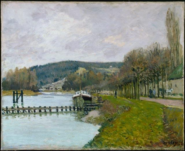 famous painting The Slopes of Bougival of Alfred Sisley