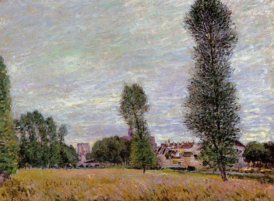 famous painting The Village of Moret, Seen from the Fields of Alfred Sisley