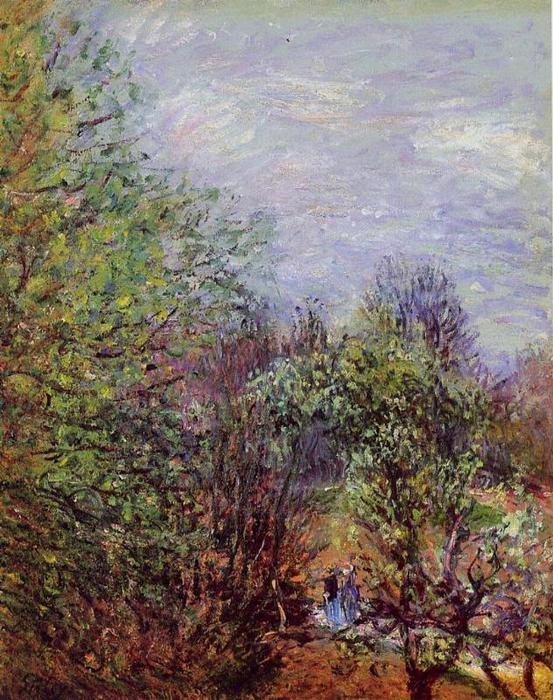 famous painting Two Women Walking along the riverbank of Alfred Sisley