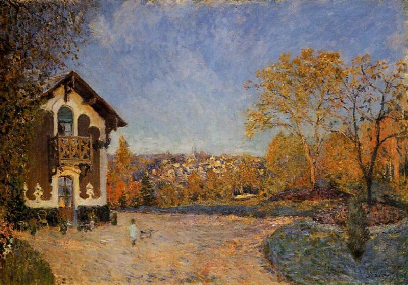 famous painting View of Marly le Roi from House at Coeur Colant of Alfred Sisley