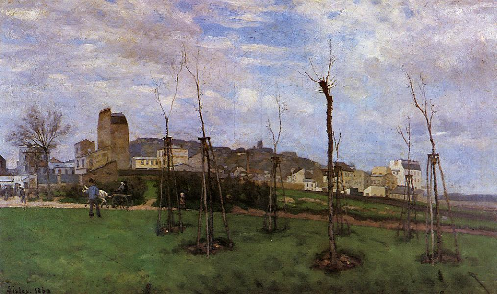 famous painting View of Montmartre from the Cite des Fleurs, Les Batignolles of Alfred Sisley