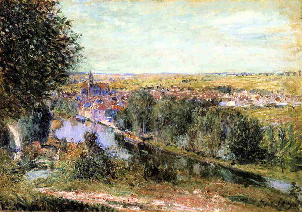 famous painting View of Moret of Alfred Sisley