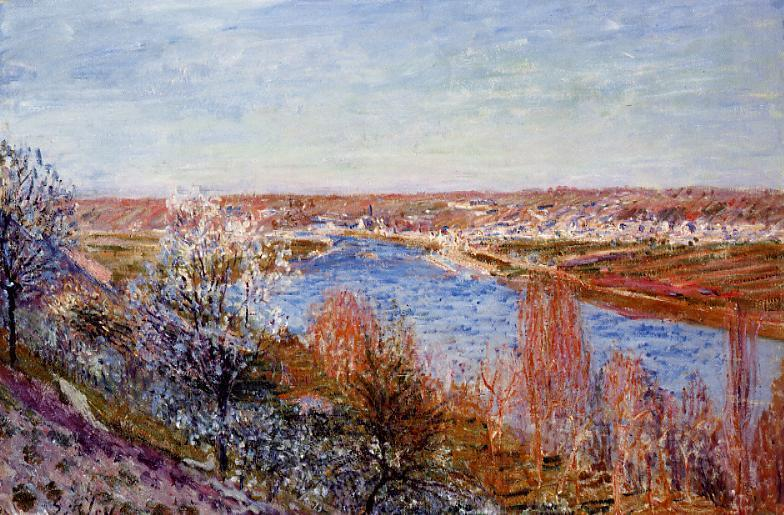 famous painting Village of Champagne at Sunset April of Alfred Sisley