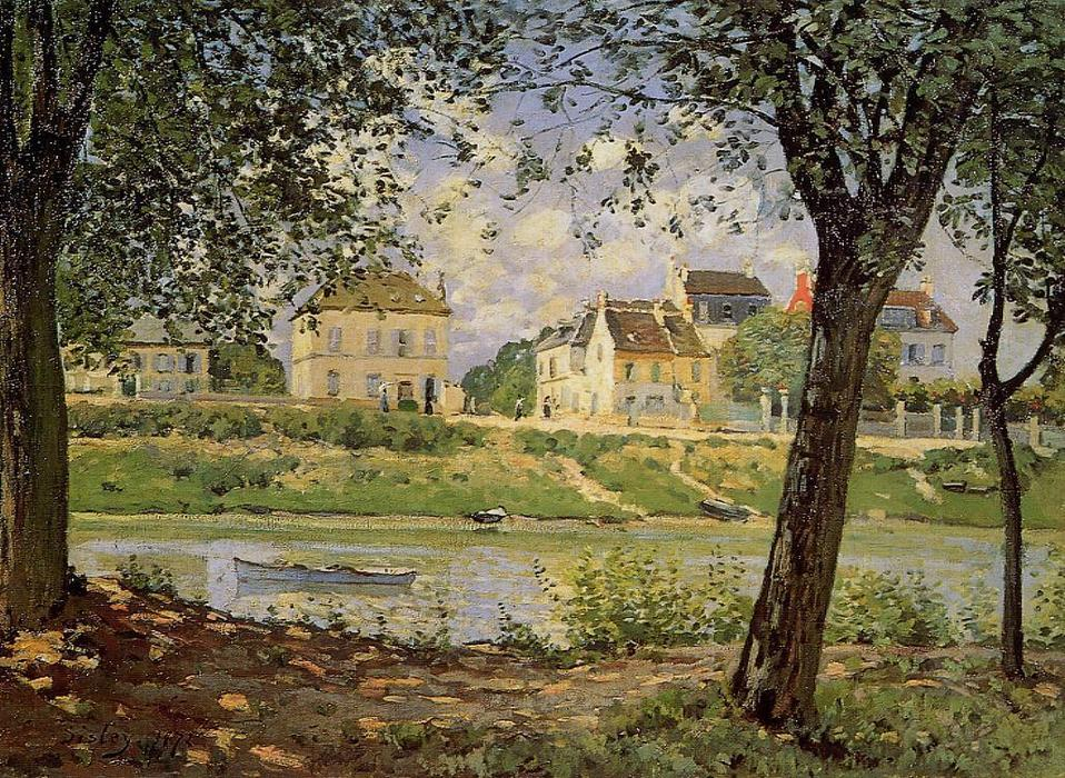 famous painting Village on the Banks of the Seine (aka Villeneuve-la-Garenne) of Alfred Sisley