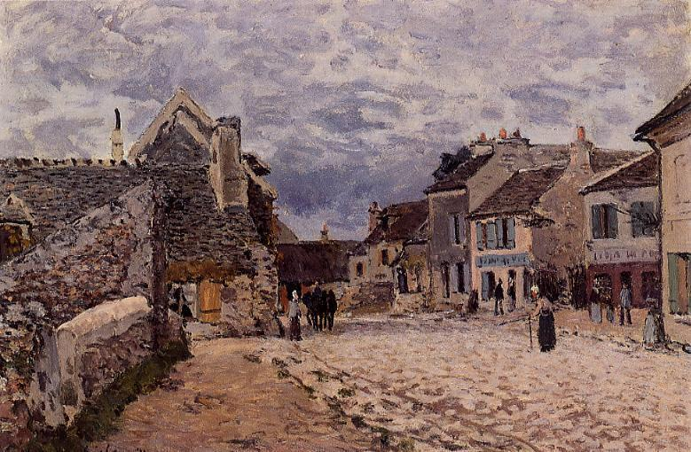 famous painting Village Street Grey Weather of Alfred Sisley
