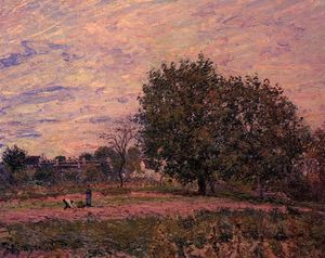 Alfred Sisley - Walnut Trees, Sunset Early Days of October