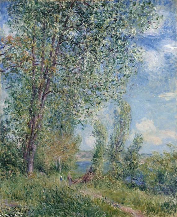 famous painting Windy Afternoon in May of Alfred Sisley