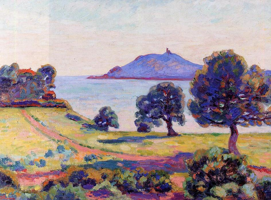 famous painting Agay, the Chateau and the Signal Tower of Jean Baptiste Armand Guillaumin