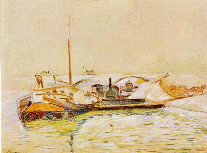 famous painting Barge of Jean Baptiste Armand Guillaumin