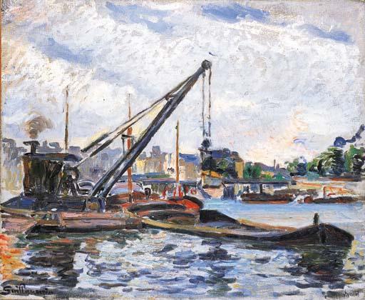 famous painting Bords de la Seine avec péniches of Jean Baptiste Armand Guillaumin