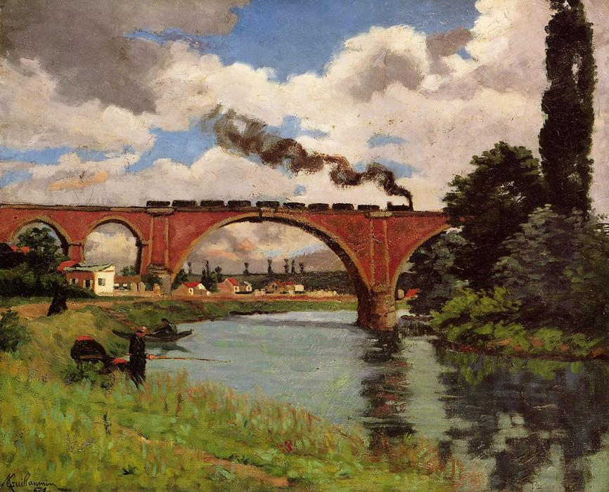 famous painting Bridge over the Marne at Joinville of Jean Baptiste Armand Guillaumin