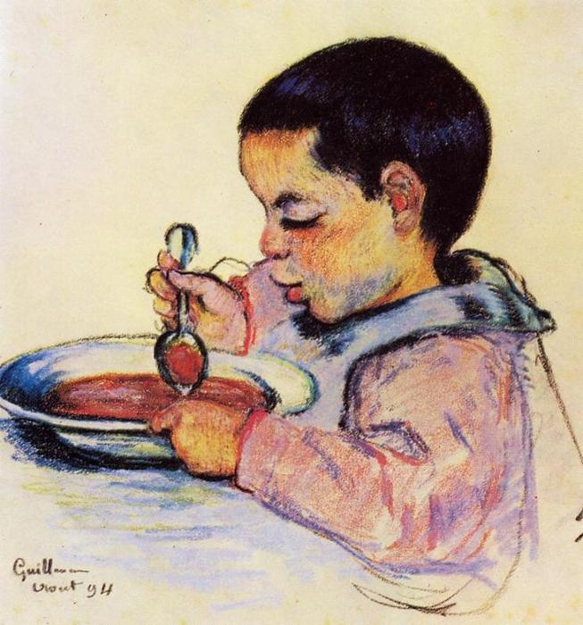Order Oil Painting Impressionism : Child Eating Soup by Jean Baptiste Armand Guillaumin | TopImpressionists.com