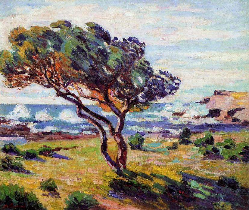 famous painting Gust of Wind, le Brusc of Jean Baptiste Armand Guillaumin