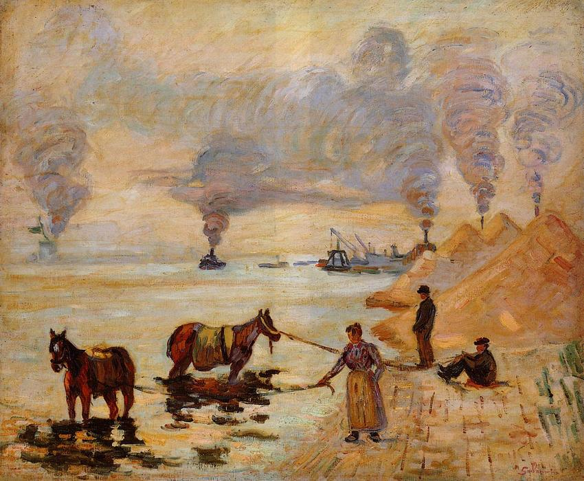 famous painting Horses in the Sand at Ivry of Jean Baptiste Armand Guillaumin