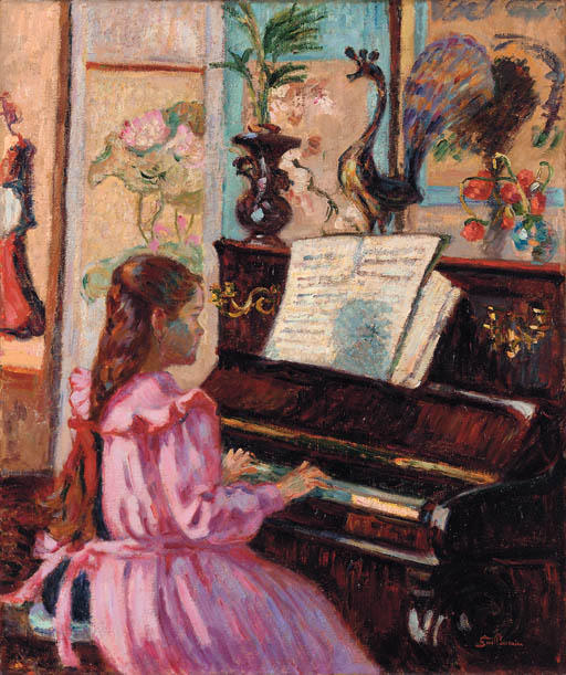famous painting Jeune fille au piano of Jean Baptiste Armand Guillaumin