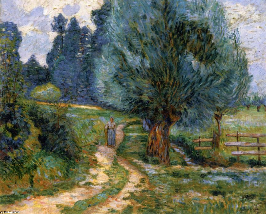 famous painting Stroller on the Banks of the Orge of Jean Baptiste Armand Guillaumin