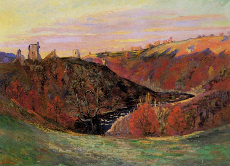 famous painting Sunset on the Creuse of Jean Baptiste Armand Guillaumin