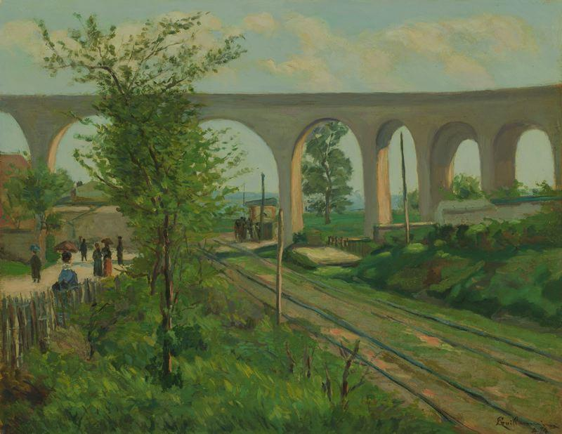 famous painting The Arcueil Aqueduct at Sceaux Railroad Crossing of Jean Baptiste Armand Guillaumin