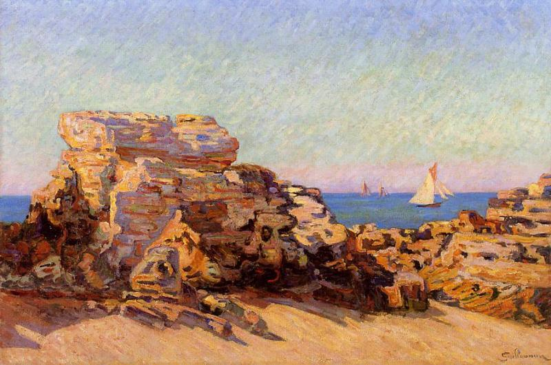 famous painting The Platin Rock at Saint-Palais of Jean Baptiste Armand Guillaumin