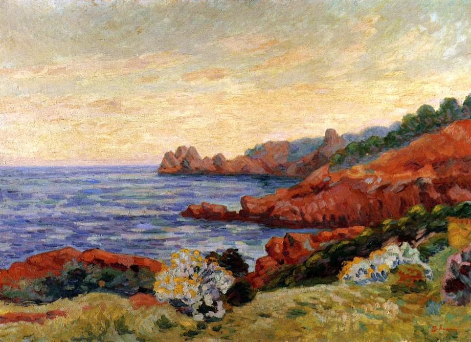 famous painting The Red Rocks at Agay of Jean Baptiste Armand Guillaumin