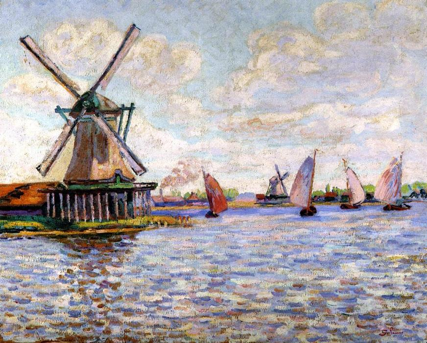 famous painting Windmills in Holland of Jean Baptiste Armand Guillaumin