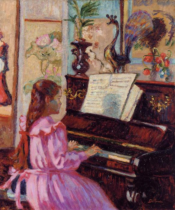 famous painting Young Girl at the Piano of Jean Baptiste Armand Guillaumin