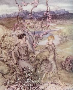 Arthur Rackham - Then they went hand in hand in the country that smells of appleblossoms and honey