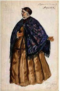 Boris Mikhaylovich Kustodiev - Costume Design For Afimia, An Elderly Peasant Woman With Blue Shawl