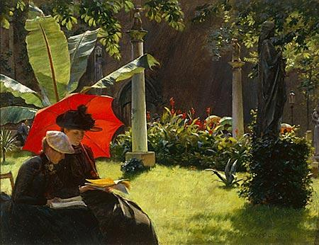famous painting Afternoon in the Cluny Gardens, Paris of Charles Courtney Curran