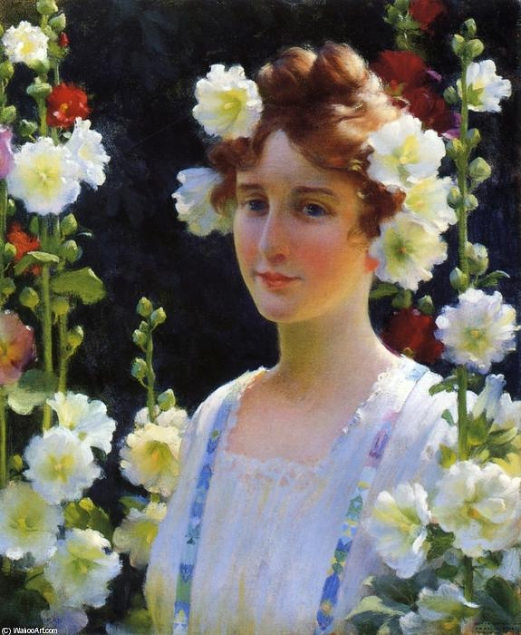 famous painting Among The Hollyhocks of Charles Courtney Curran