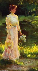 Charles Courtney Curran - By The Lily Pond