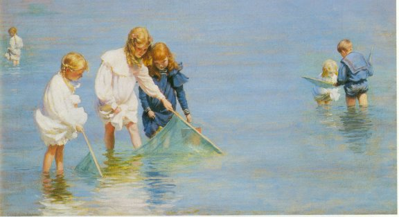 famous painting Children Catching Minnows of Charles Courtney Curran