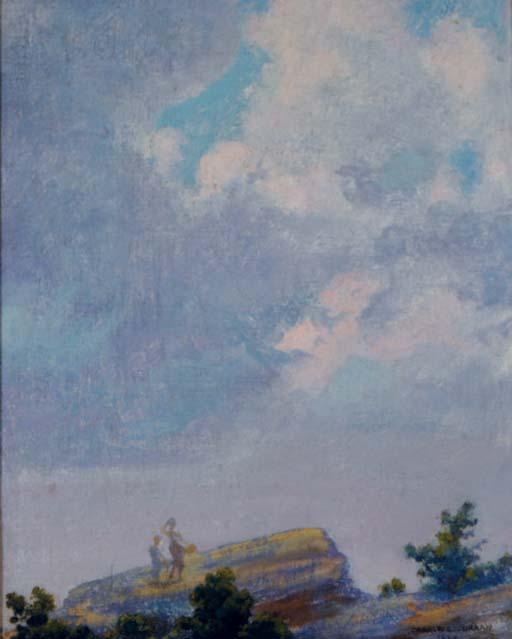 famous painting Clouds forming before a shower of Charles Courtney Curran