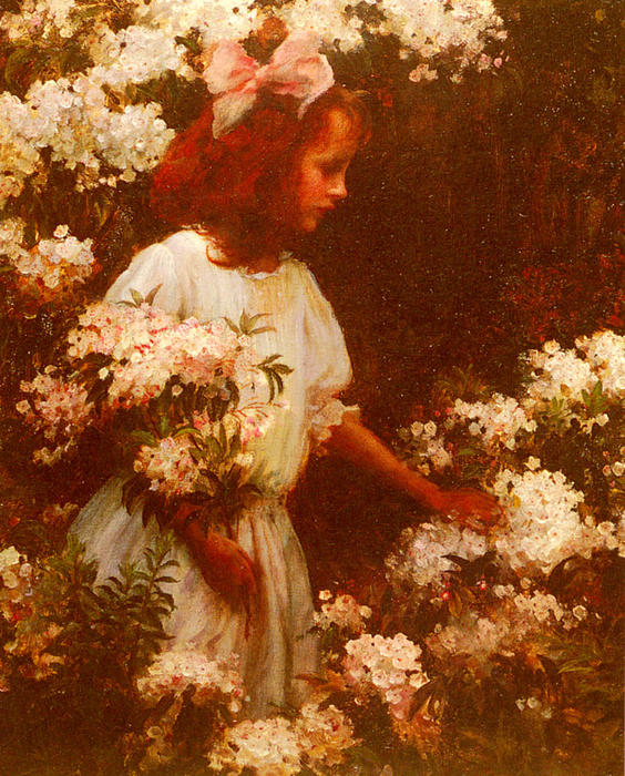 famous painting Garden Walk of Charles Courtney Curran