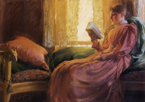 famous painting Girl Reading of Charles Courtney Curran
