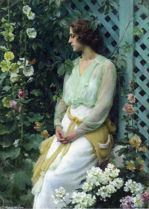 famous painting Green Lattice of Charles Courtney Curran